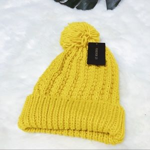 Forever 21 Yellow Knit Beanie